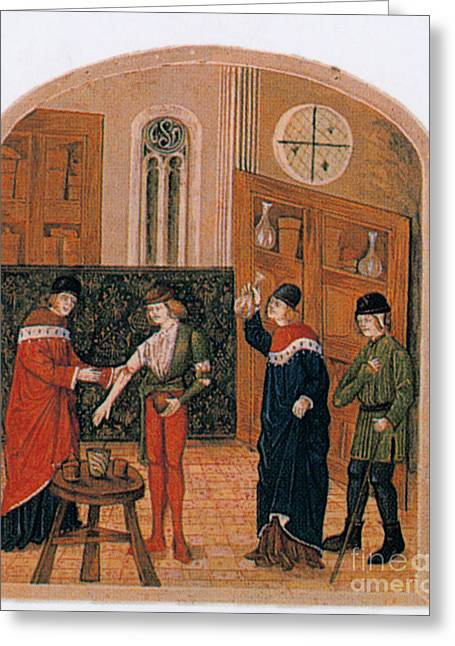 Historical Physician Greeting Cards - Bloodletting Greeting Card by Science Source