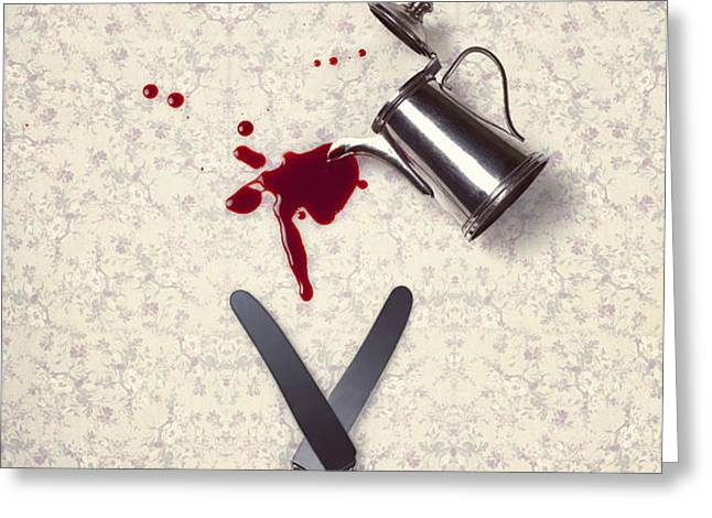 bloody dining table Greeting Card by Joana Kruse