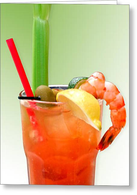 Drinks Greeting Cards - Bloody Mary Hand-Crafted Greeting Card by Christine Till