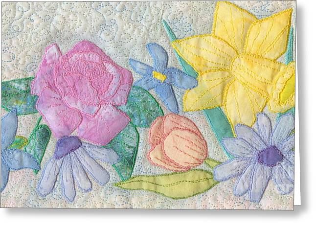 Peach Tapestries - Textiles Greeting Cards - Bloomin Favorites Greeting Card by Denise Hoag