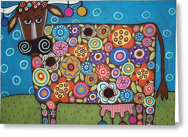 Folk Art Landscapes Greeting Cards - Blooming Cow Greeting Card by Karla Gerard