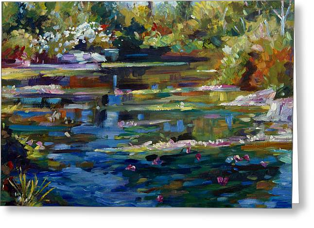 Water Garden Greeting Cards - Blooming Lily Pond Greeting Card by David Lloyd Glover