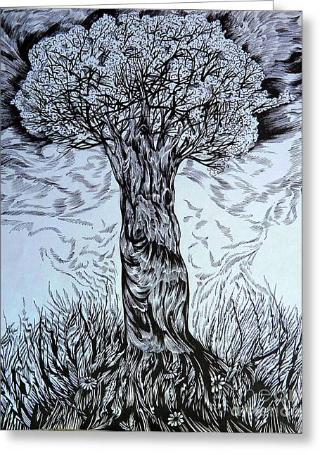 Flower In Pen And Ink Greeting Cards - Blossom in any age Greeting Card by Anna  Duyunova