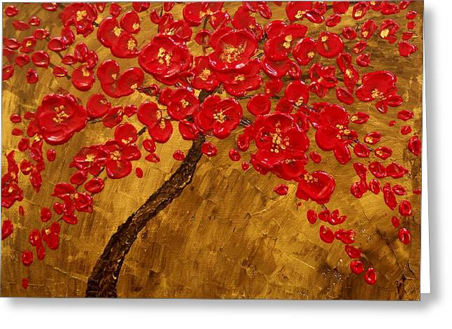 Impressionism Reliefs Greeting Cards - Blossom Original Impasto palette knife abstract painting Cherry Tree Greeting Card by Aboli Salunkhe