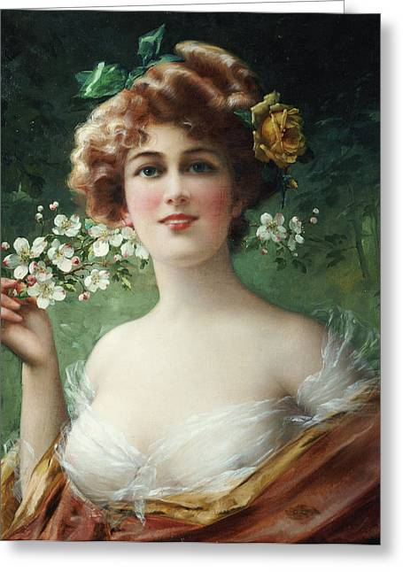 Flower In Hair Greeting Cards - Blossoming Beauty Greeting Card by Emile Vernon