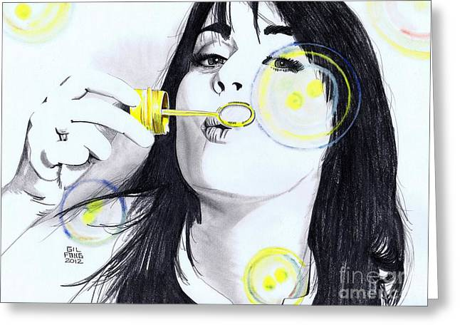 Katy Perry Greeting Cards - Blowing bubbles Greeting Card by Gil Fong