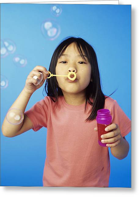 Child Care Greeting Cards - Blowing Bubbles Greeting Card by Ian Boddy