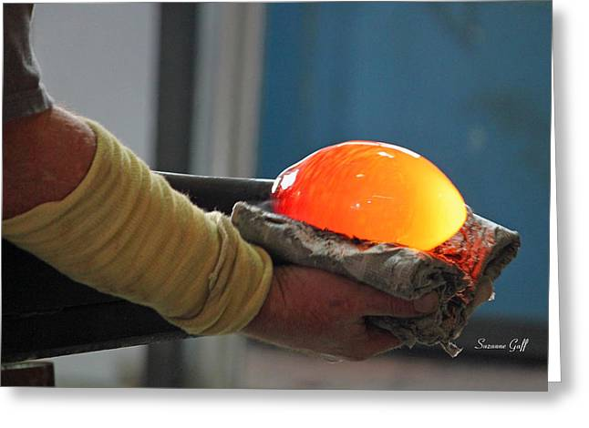 Glass Blowing Greeting Cards - Blowing Glass I Greeting Card by Suzanne Gaff