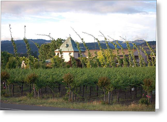 Blowing Grape Vines Vineyards Rustic House Winery Napa California Ca Wine Greeting Cards - Blowing Grape Vines Greeting Card by Holly Blunkall