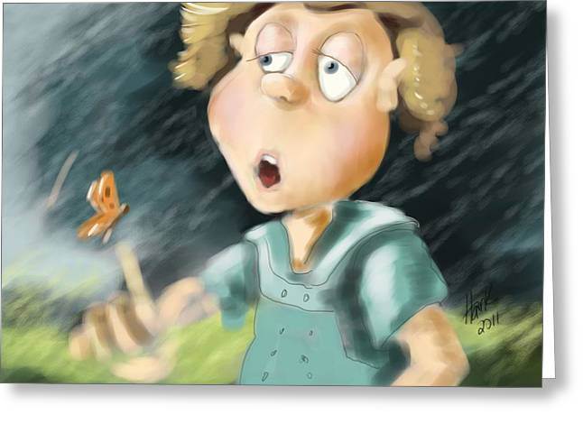 Little Boy Digital Art Greeting Cards - Blowing in the Wind Greeting Card by Hank Nunes