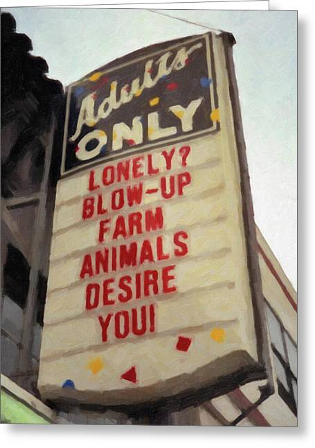 Raunchy Greeting Cards - Blowup Farm Animals Greeting Card by Frank DiMarco