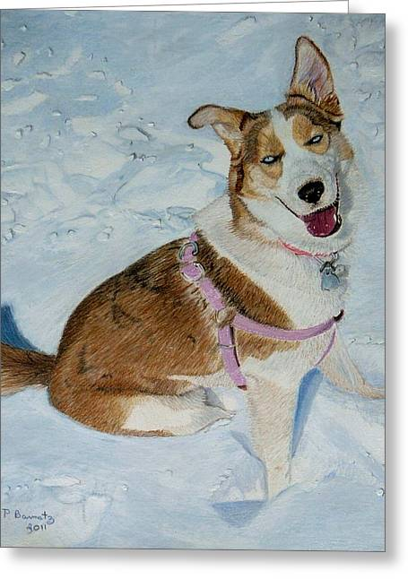 Dogs In Snow. Mixed Media Greeting Cards - Blue - Siberian Husky Dog Painting Greeting Card by Patricia Barmatz