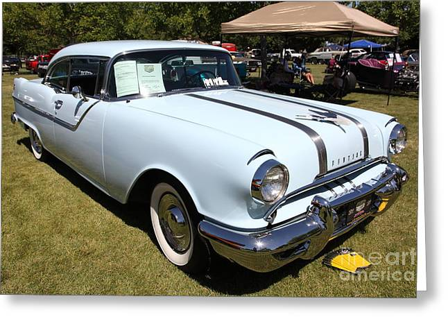 Chieftains Greeting Cards - Blue 1955 Pontiac Chieftain . 5D16230 Greeting Card by Wingsdomain Art and Photography