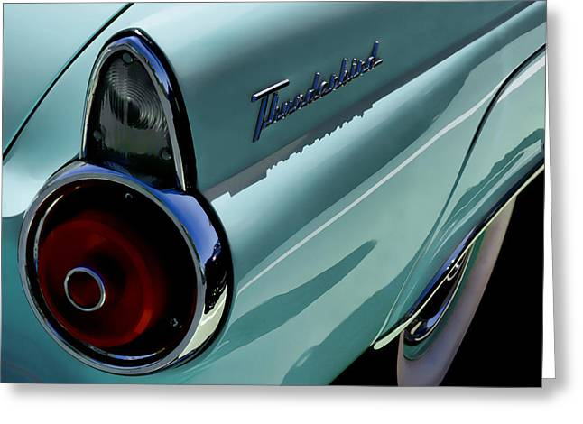 Thunderbird Greeting Cards - Blue 1955 T-Bird Greeting Card by Douglas Pittman