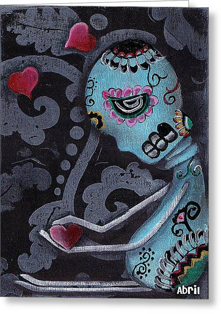 Blue Greeting Card by  Abril Andrade Griffith