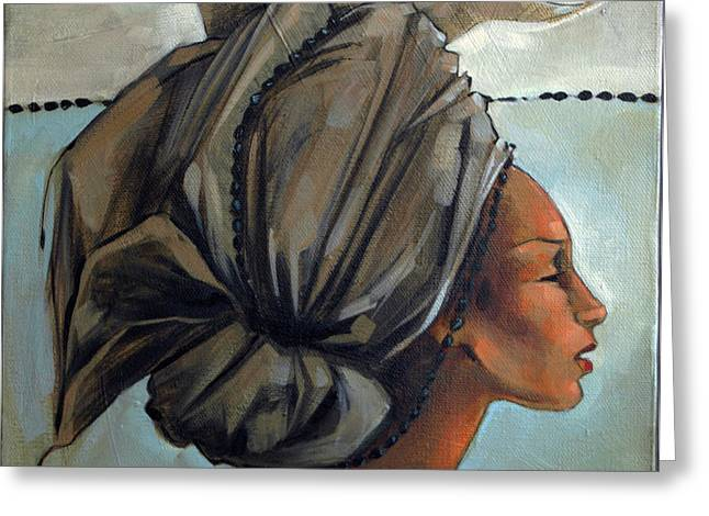 Cloth Greeting Cards - Blue and Black Bead Headdress Greeting Card by Jacque Hudson
