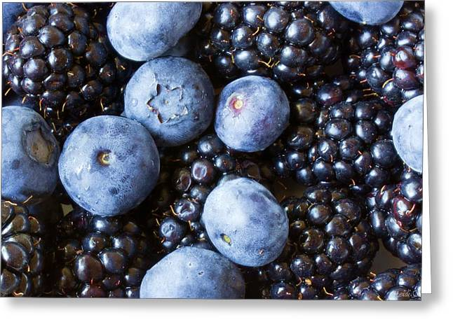 Photogaph Greeting Cards - Blue And Black Berries Greeting Card by Heidi Smith