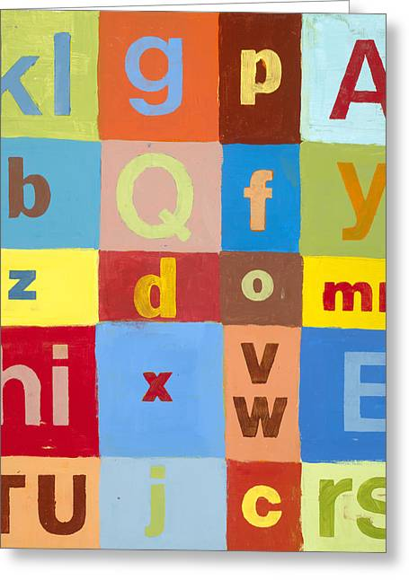 Baby Room Greeting Cards - Blue And Brown Abcs Greeting Card by Laurie Breen
