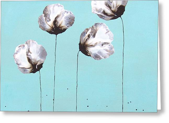 Blue and Brown Flower Painting Felicity Greeting Card by Catherine Jeltes