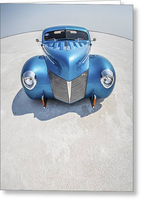 Speed Week Greeting Cards - Blue  and Chrome Bonneville Salt Flats Greeting Card by Holly Martin