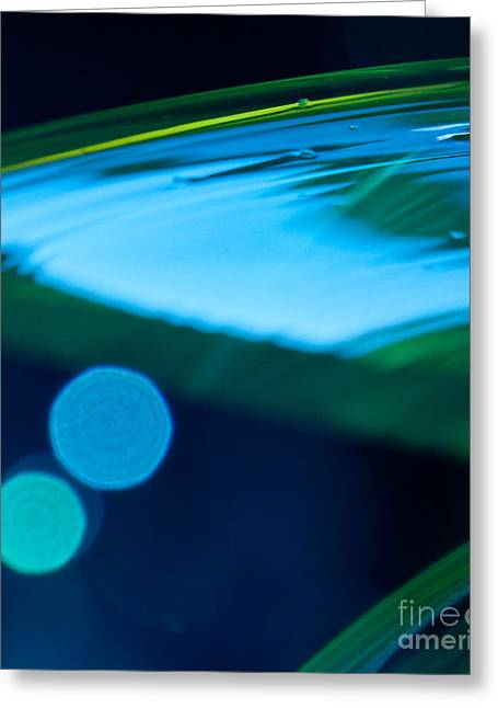 Abstract Print Glass Art Greeting Cards - Blue and Green Abstract Greeting Card by Dana Kern