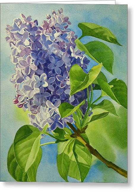 Blue And Lavender Lilacs Greeting Card by Sharon Freeman