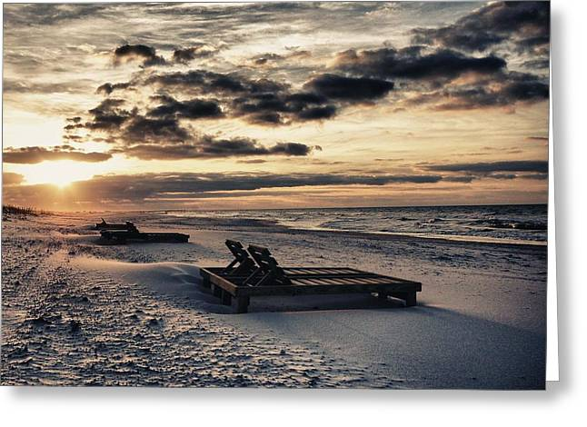 Crimson Tide Photographs Greeting Cards - Blue and Orange Sunrise on the beach Greeting Card by Michael Thomas