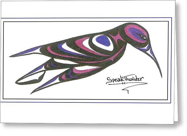 Speakthunder Berry Greeting Cards - Blue and Purple Humming Bird Greeting Card by Speakthunder Berry