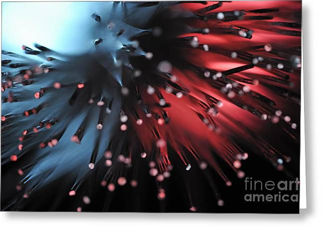 Fiber Optic Greeting Cards - Blue and red light from fiber optic Greeting Card by Sami Sarkis