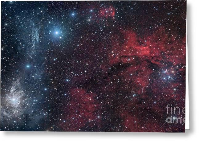 Interstellar Space Greeting Cards - Blue And Red Nebulae Greeting Card by John Davis