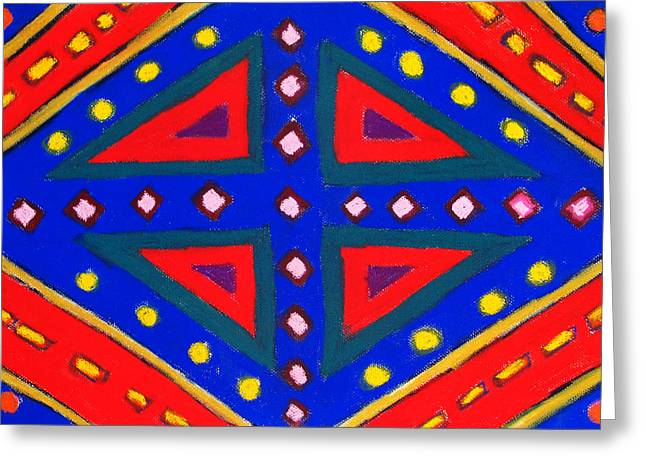 Symbolism Pastels Greeting Cards - Blue and Red Ornamental Pastel Diamond Pattern Greeting Card by Kazuya Akimoto