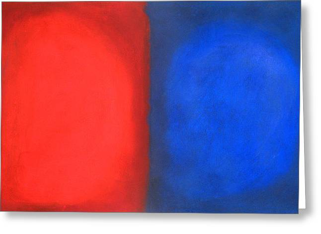 Abstractions Pastels Greeting Cards - Blue and Red Pastel Conversation Greeting Card by Kazuya Akimoto