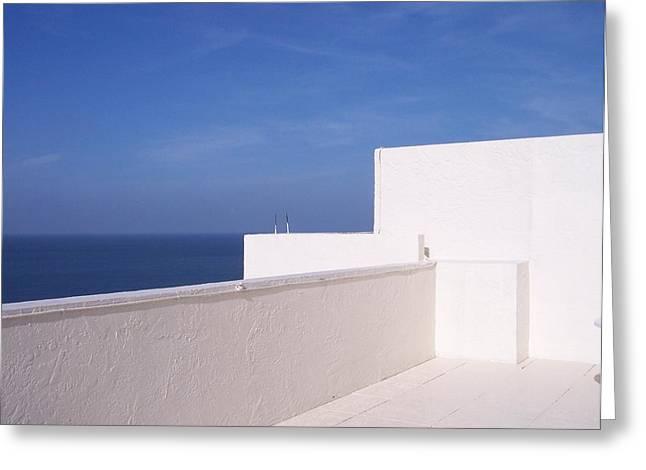 Anna Villarreal Garbis Greeting Cards - Blue and White Greeting Card by Anna Villarreal Garbis