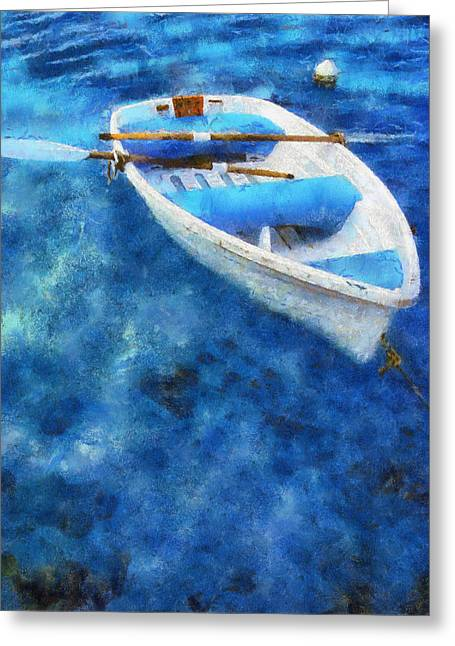 Quite Photographs Greeting Cards - Blue and White. Lonely Boat. Impressionism Greeting Card by Jenny Rainbow