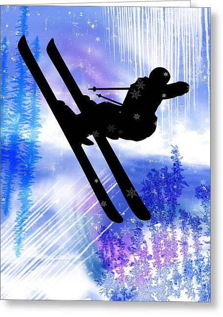 Freestyle Skiing Greeting Cards - Blue and White Splashes with Ski Jump Greeting Card by Elaine Plesser
