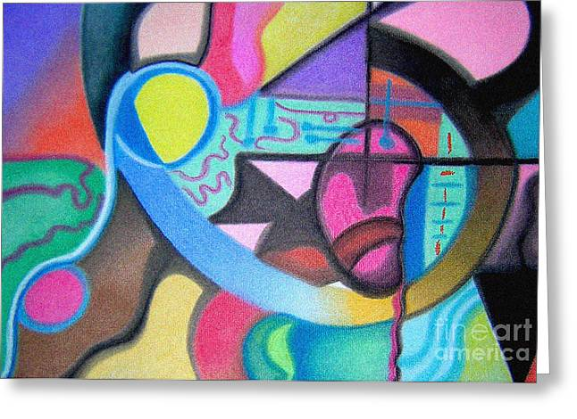 Improvisation Pastels Greeting Cards - Blue and Yellow Curve Greeting Card by Christine Perry