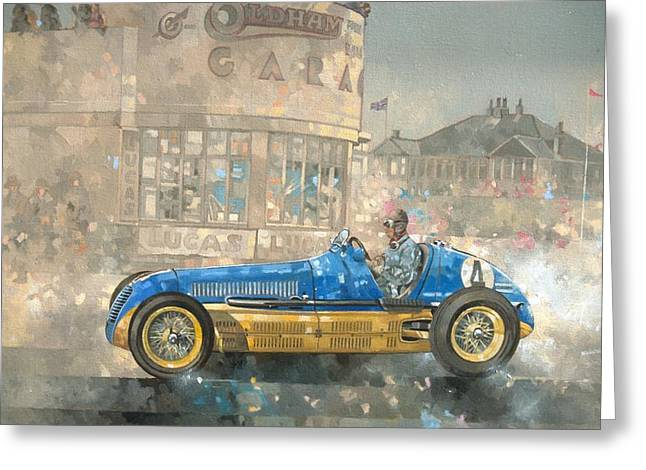 Blue Classic Car Greeting Cards - Blue and Yellow Maserati of Bira  Greeting Card by Peter Miller