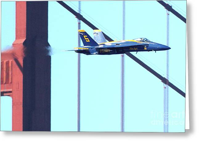 Brdige Greeting Cards - Blue Angels and Golden Gate Bridge . 7D2602 Greeting Card by Wingsdomain Art and Photography