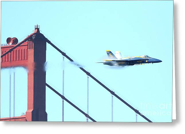 Brdige Greeting Cards - Blue Angels Crossing the Golden Gate Bridge 2 Greeting Card by Wingsdomain Art and Photography