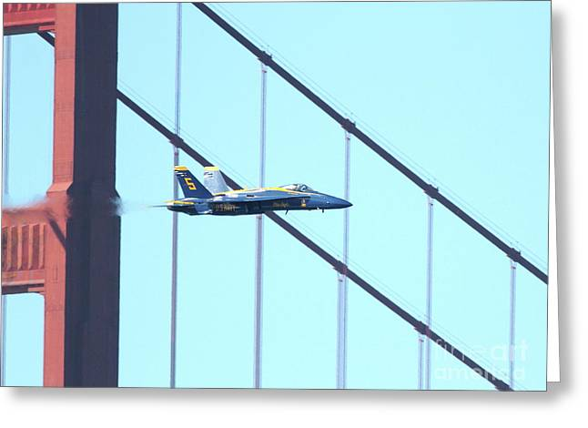 Brdige Greeting Cards - Blue Angels Crossing the Golden Gate Bridge 4 Greeting Card by Wingsdomain Art and Photography