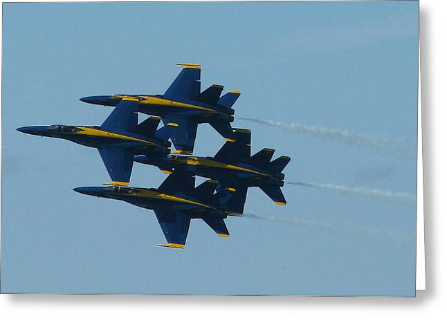 Angel Blues Greeting Cards - Blue Angels Diamond from Right Greeting Card by Samuel Sheats
