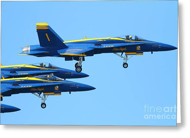 F-18 Greeting Cards - Blue Angels F-18 Super Hornet . 7D7985 Greeting Card by Wingsdomain Art and Photography