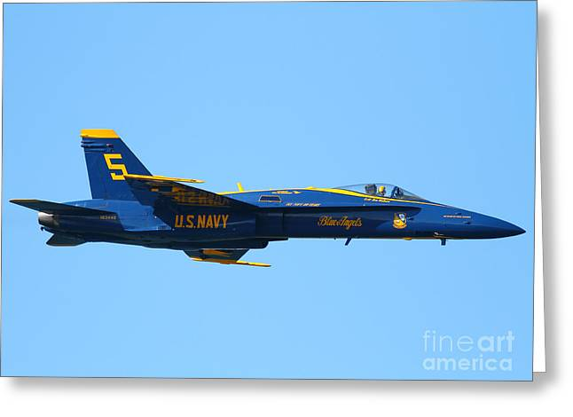 Jet Greeting Cards - Blue Angels F-18 Super Hornet . 7D8049 Greeting Card by Wingsdomain Art and Photography