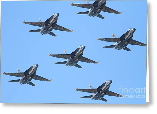 F-18 Greeting Cards - Blue Angels F-18 Super Hornet . 7D8089 Greeting Card by Wingsdomain Art and Photography