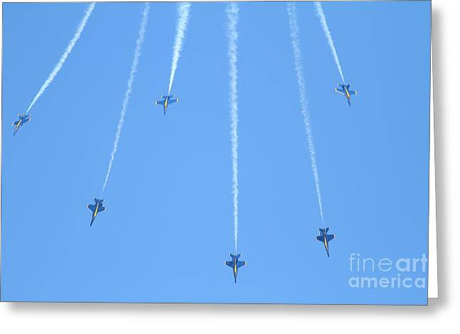 F-18 Greeting Cards - Blue Angels F-18 Super Hornet . 7D8102 Greeting Card by Wingsdomain Art and Photography