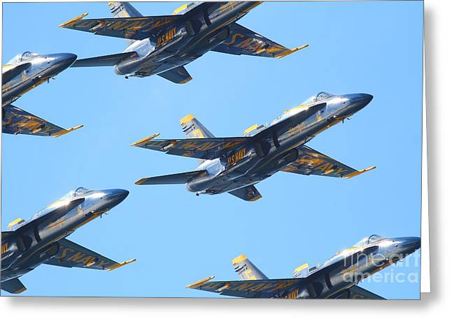 F-18 Greeting Cards - Blue Angels F-18 Super Hornet . 7D8129 Greeting Card by Wingsdomain Art and Photography