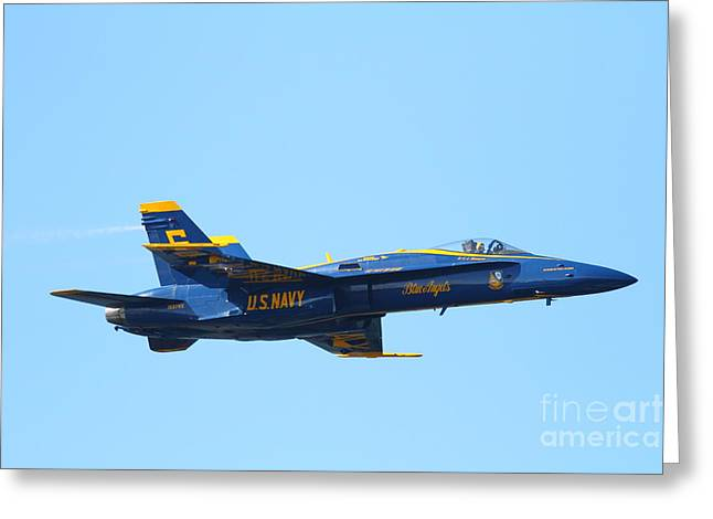F-18 Greeting Cards - Blue Angels F-18 Super Hornet Greeting Card by Wingsdomain Art and Photography
