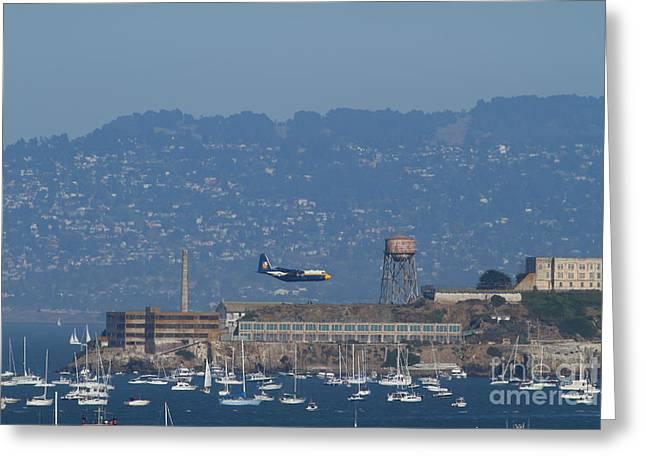 Alcatraz Greeting Cards - Blue Angels Fat Albert C130T Hercules Across San Francisco Alcatraz . 7D7937 Greeting Card by Wingsdomain Art and Photography