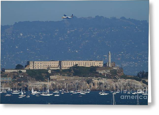 Alcatraz Greeting Cards - Blue Angels Fat Albert C130T Hercules Over Alcatraz . 7D7930 Greeting Card by Wingsdomain Art and Photography
