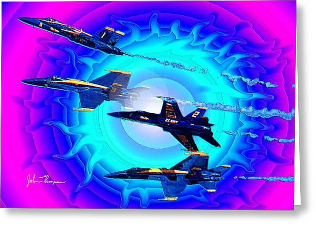 Angel Blues Greeting Cards - Blue Angels four break Greeting Card by John Thompson
